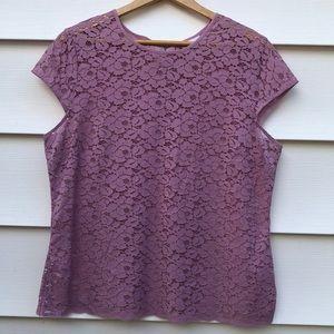 Liz Claiborne Lace Cap Sleeve Top
